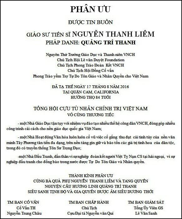 PhanUuGSTSNguyenThanhLiem-TongHoiCuuTuNhanChinhTri