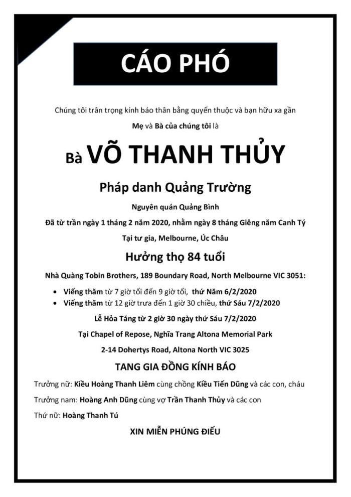 Ba Vo Thanh Thuy - Cao pho