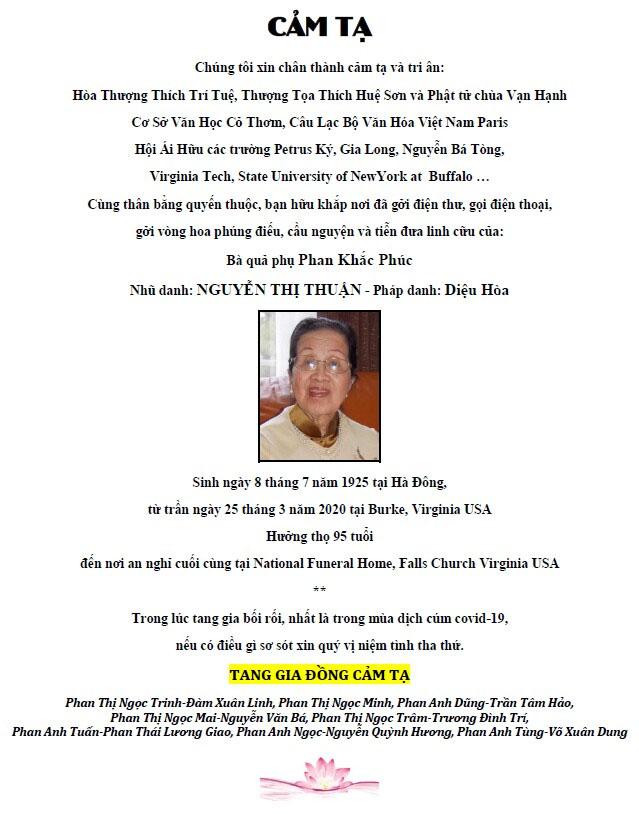 Ba Nguyen thi Thuan - Cam ta
