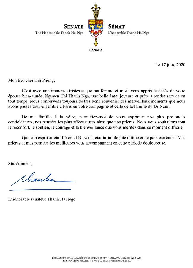 Lettre de condoléances - anh Phong