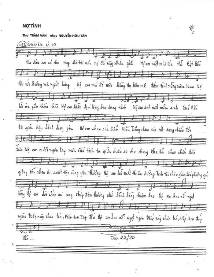 No tinh - music sheet